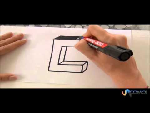 c mo hacer la letra c en 3d how to make the letter c in 3d youtube. Black Bedroom Furniture Sets. Home Design Ideas