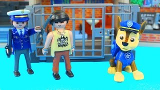 Playmobil Jailhouse Set Stop motion with Police officer and Paw Patrol Chase