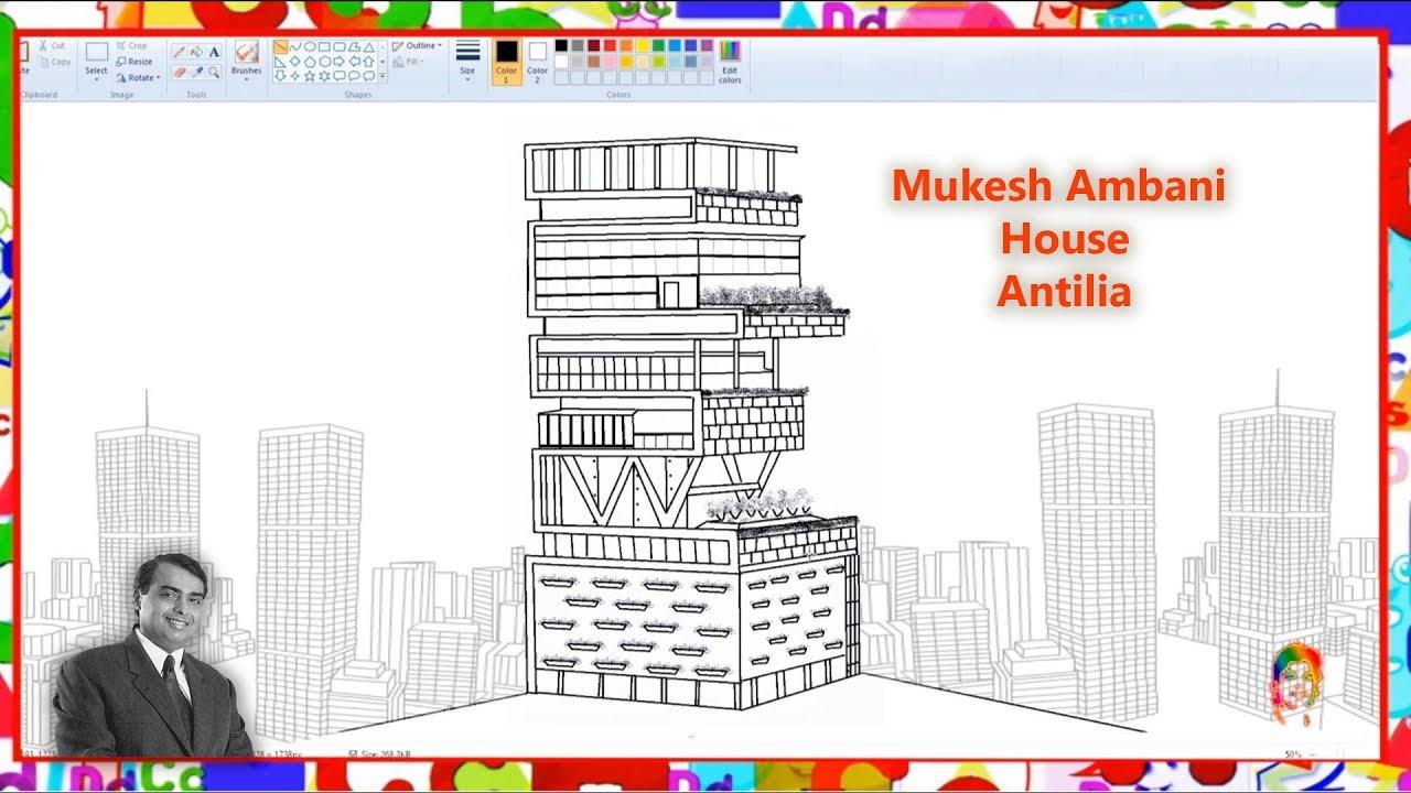 How to Draw Mukesh Ambani House ANTILIA Mumbai - Learn By Art - YouTube
