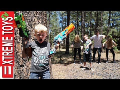 Nerf Zombie Attack! The Wild Undead Vs. Ethan and Cole Nerf Zombie Blaster Battle!