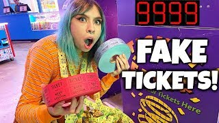 USING FAKE TICKETS AT THE ARCADE (IT WORKS!!!) LIFE HACKS