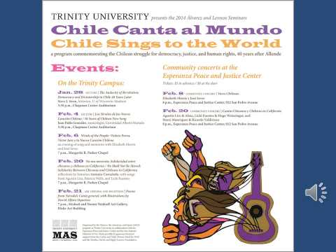 "Texas Public Radio show about Trinity University's program ""Chile Canta al Mundo"""