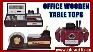 Corporate Wooden Table Tops - Table Organisers With Pen Stand,calculators, Clocks & Memo Pad.