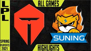 TES vs SN Highlights ALL GAMES | LPL Playoffs Spring 2021 Round 1 | Top Esports vs Suning