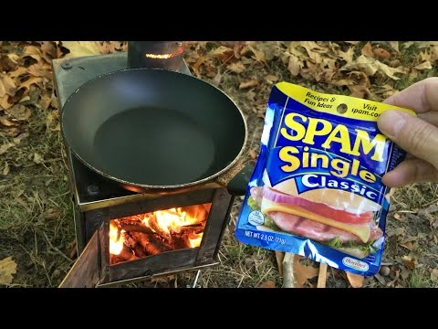 Hot Tent Wood Stove Bushcraft breakfast Spam and grits + Appalachian trail stories.