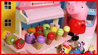 粉紅豬小妹和木質可愛冰淇淋商店的玩具故事