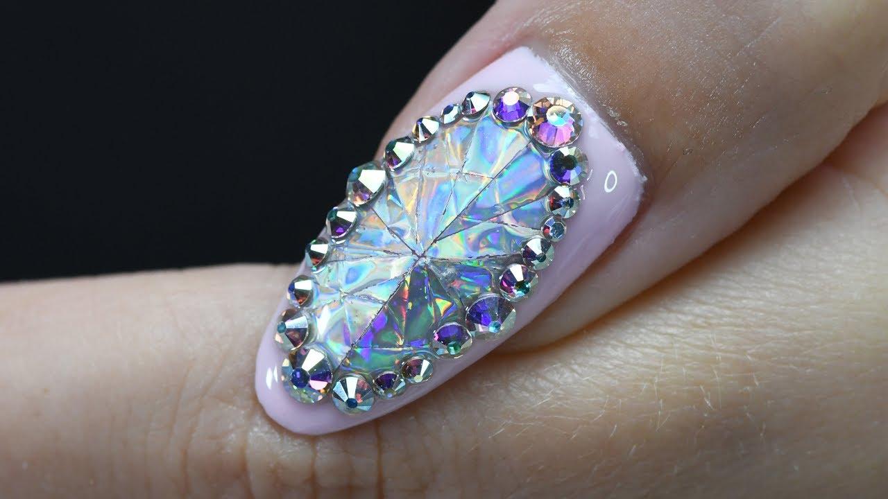 бриллиант картинка на ногтях черную классическую