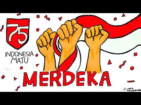 Cara Menggambar Dan Mewarnai Poster Tema 17 Agustus 2020 Hut Ri 75 Tahun Kemerdekaan Ri Ep 210 Youtube