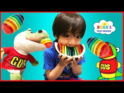 Thumbnail: Hide and Seek Playing Chase with Gus The Gummy Gator! Kids playtime Rainbow Gummy Jello egg!