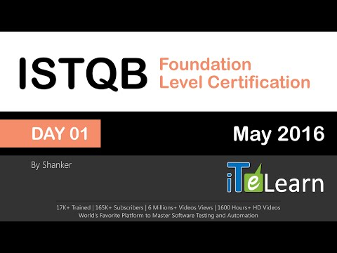 ISTQB Foundation Level Certification Live Training Day 01