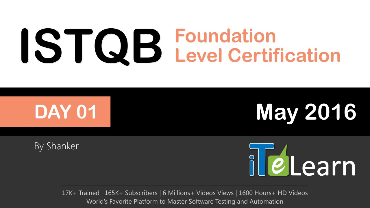 Istqb Foundation Level Certification Live Training Day 01 Youtube