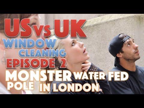 US VS UK Window Cleaning - Episode 2 - Monster water fed pole in London