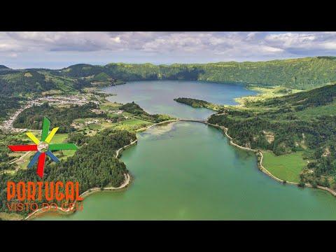 Lagoa das Sete Cidades Lagoon aerial - São Miguel - Azores - 4K Ultra HD