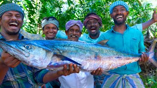 Download KING FISH GRILL | Spanish Mackerel Fish Grill with Banana Leaf | Fish Fry Recipe Cooking In Village