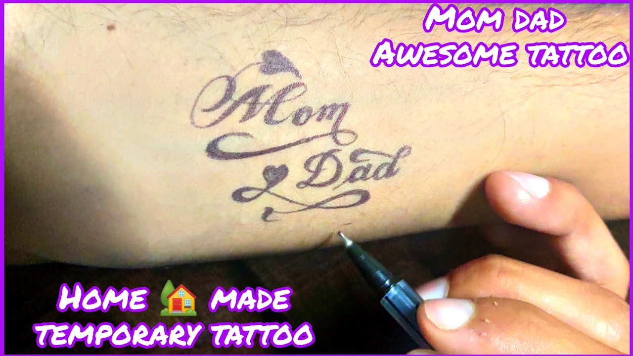 Mom Dad Tattoo on Hand   Easy Mom Dad Tattoo Design   Maa paa hand tattoo   Temporary pen tattoo