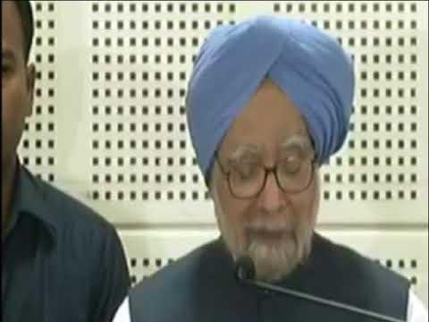 Former PM Manmohan Singh addresses the media in Ahmedabad, Gujarat