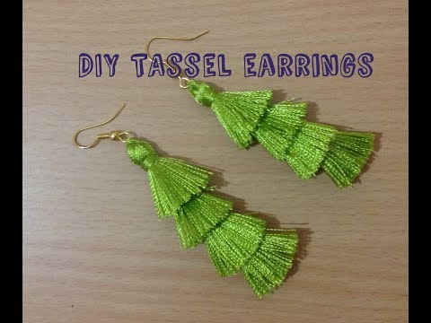 DIY Layered Tassel Earrings II Silk thread layered tassel earrings