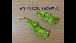 DIY Layered Tassel Earrings II Silk thread layered tassel earrings