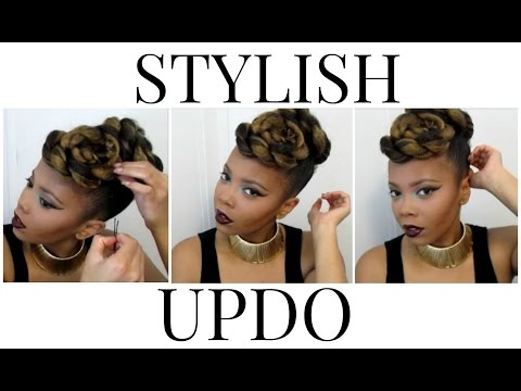 fab-in-fall- -stylish-twisted-updo-on-natural-hair