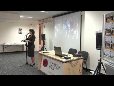 Ged Kearney speaks with AEU Tasmanian Branch Members