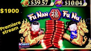 🔴PREMIERE STREAM !! $1900 Live Slot Play |  Fu-Nan Fu-Nu Slot  | Whales of Cash Deluxe |Mighty Cash