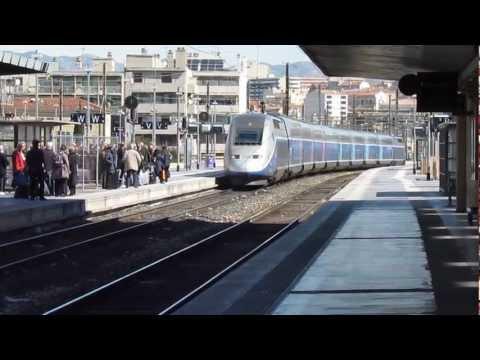 arrivée d'un TGV an gare de  Marseille  ST Charles  21/3/2013