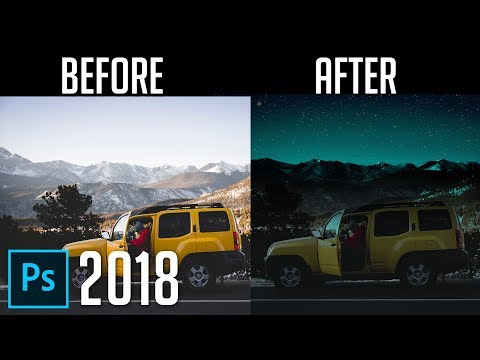 How to Turn Day into Night | Photoshop CC 2018 Tutorial thumbnail