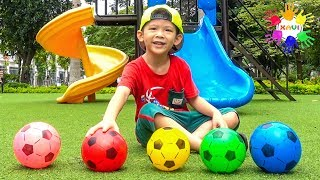 Xavi ABCKids hunts dinosaur eggs and plays colors soccer balls