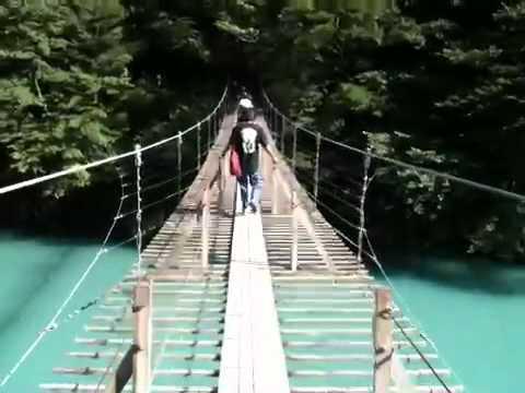 新緑の寸又峡の吊り橋で恋愛成就を祈願だ!