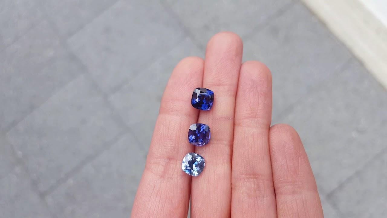 Purple/blue/violet sapphires square cushion cut 2.28ct, 2.14ct, 1.55 ...