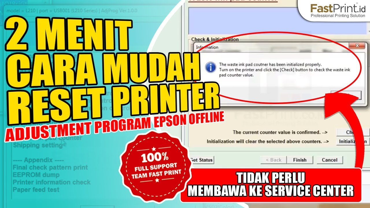 Tutorial Reset Printer Epson L120 L1300 L310 L1800 L220 L360 Tinta L100 L200 L210 L300 Adjustment Program