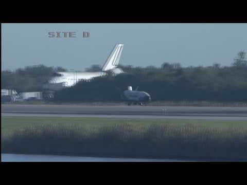 US Air Force Spaceplane lands in Florida (B-Roll)