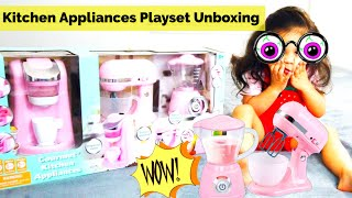 Unboxing Kids Gourment Kitchen Appliance Set | Toy Kitchen Playset for kids | Kids Pretend Play |