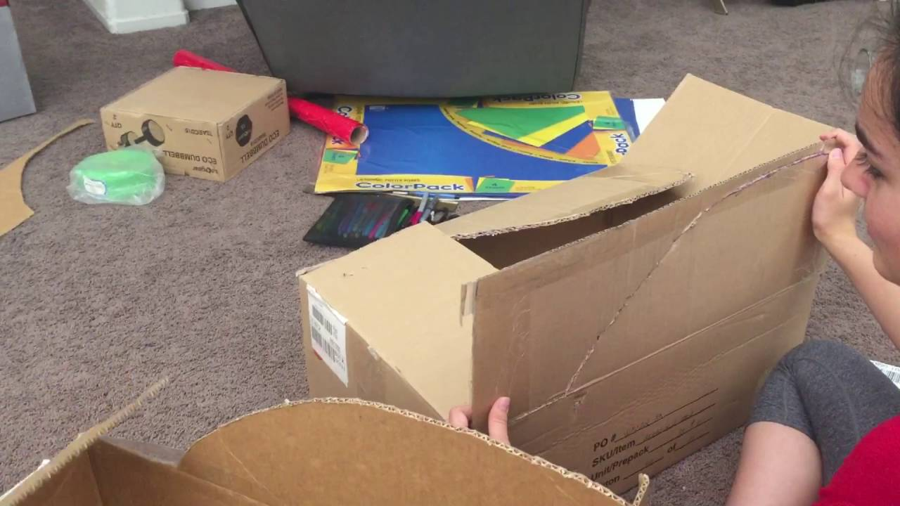 Como hacer un carro con una caja de carton pt 1 youtube - Como forrar una caja con tela ...