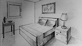 Dessin en perspective conique (2) Chambre avec porte, lit et ...