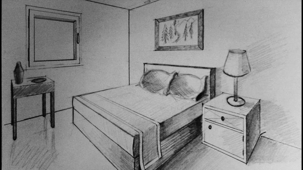 How to draw two point perspective bedroom youtube for Simple drawing room images