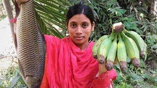 Rui Mach and Kacha Kolar Jhol Recipe | Bengali Fish & Banana Curry Cooking By Street Village Food