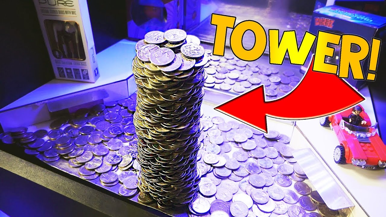 Coin Pusher Winning Huge Tower Of Quarters Youtube