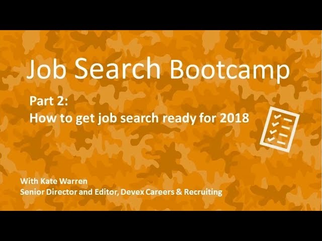 Webinar: How To Get Job Search Ready For 2018 | Devex