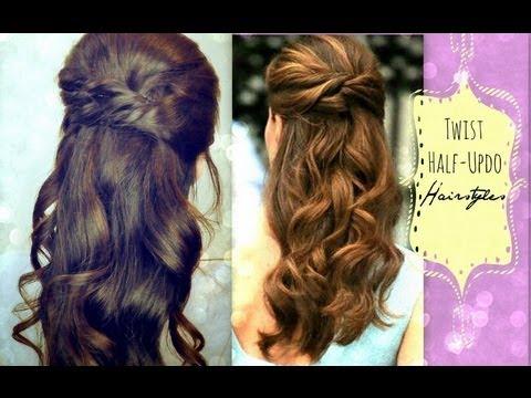 CUTE HAIRSTYLES HAIR TUTORIAL WITH TWIST-CROSSED CURLY HALF-UP UPDOS PONYTAIL