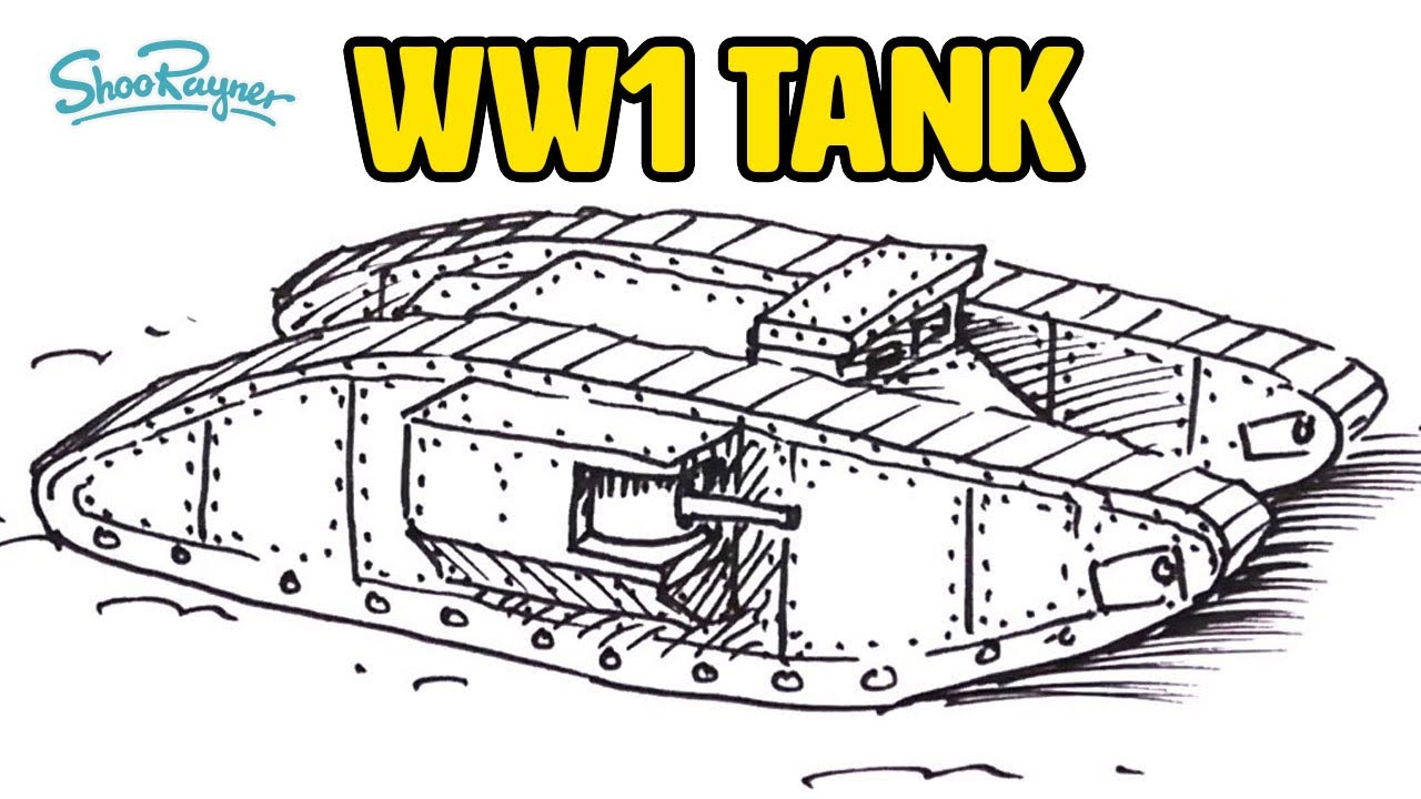 how to draw a ww1 tank youtube
