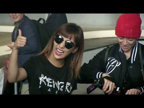 Amber and Luna from Kpop group f(x) arriving at Paris airport
