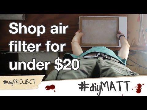 Make a DIY shop air filter using a fireplace blower for cheap