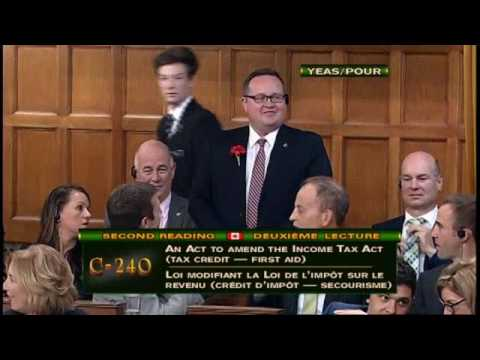 Cambridge MP Bryan May's Private Member's Bill (C-240 - first aid tax credit) passes second reading
