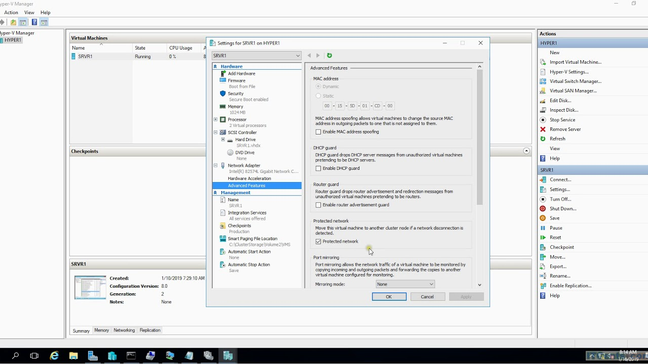 10-Configuring Virtual machine monitoring in Hyper V 2016