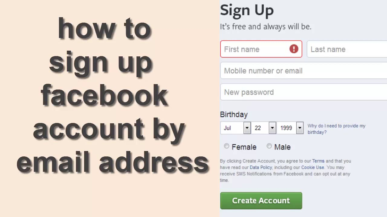 How To Sign Up New Facebook Account 2017 Facebook Create