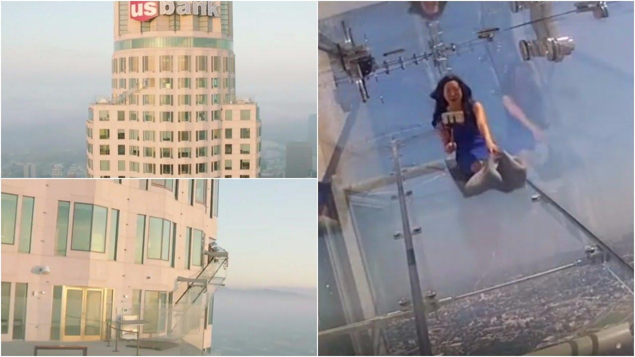 Thrilling Glass Slide Atop Los Angeles Highest Skyscraper