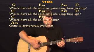 Where Have All the Flowers Gone (Pete Seeger) Strum Guitar Cover Lesson with Lyrics