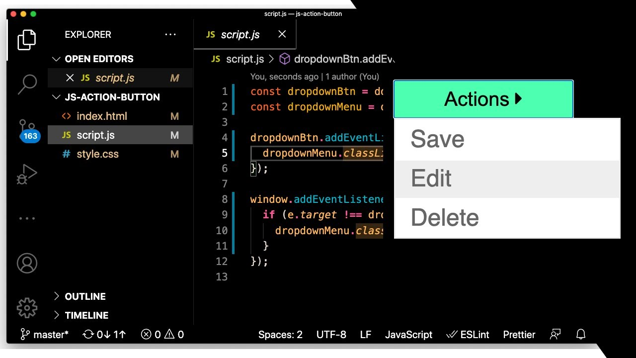 How to Code a Sliding Dropdown Button using Javascript, HTML, and CSS