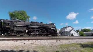 1080p 60 fps - Joliet Rocket Steam Train Through Mokena - From East of the Grain Elevator